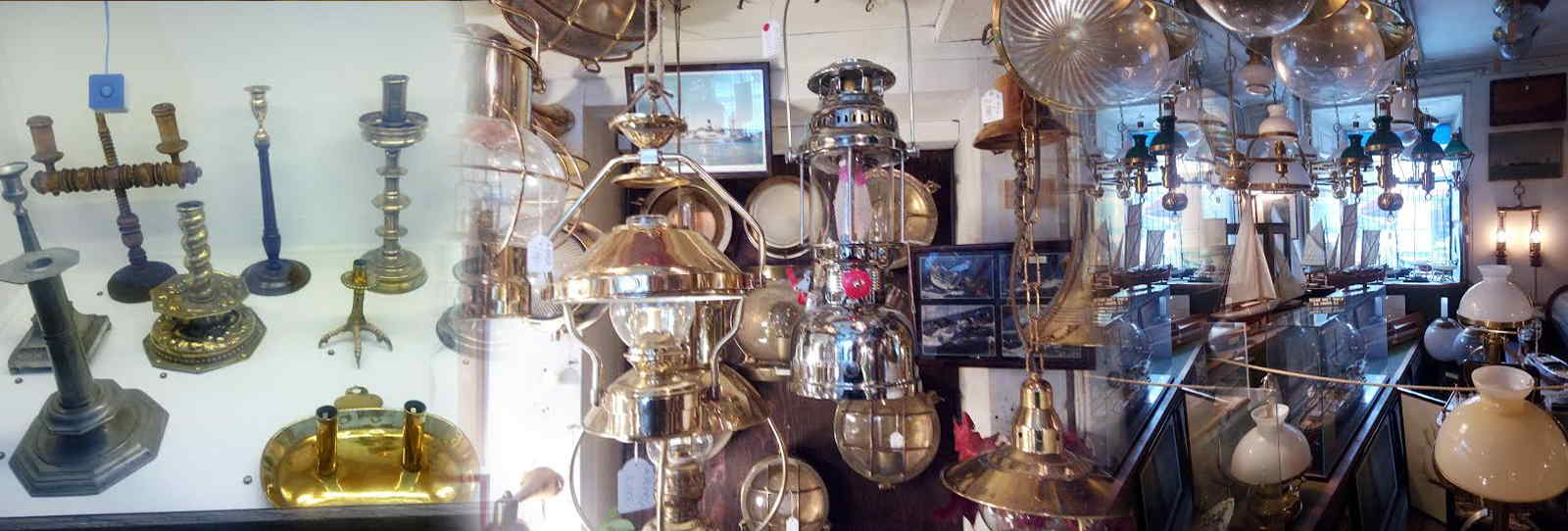 antiques ship lamps, candle holders