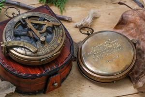 Push Button Sundial Compass With Custom Engraving