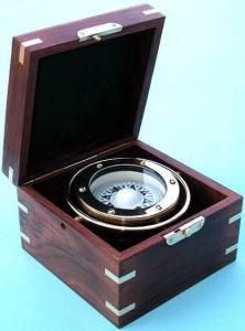 Gimbaled Compass With Wooden Box
