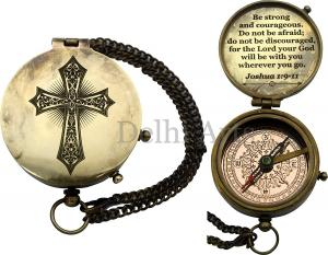 Be Strong And Courageous Verse And Cross Engraved On Brass Compass