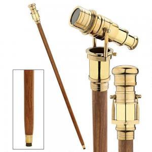Vintage Shiny Brass Handle Victorian Telescope Foldable Wooden Walking Stick